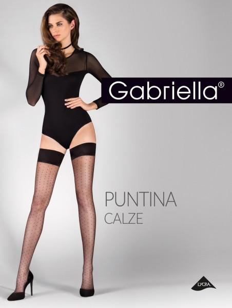 Gabriella Puntina - Halterlose Strümpfe mit Pünktchenmuster und schlichtem Abschlussband