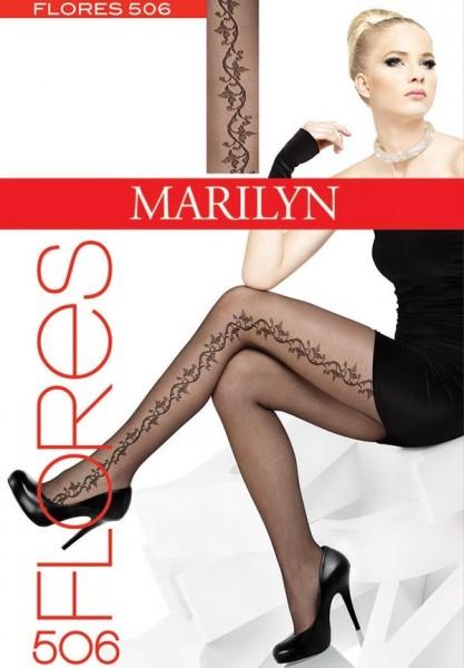 Marilyn Elegante Feinstrumpfhosen mit wunderschoenem Blumenrankenmuster Flores, 20 DEN