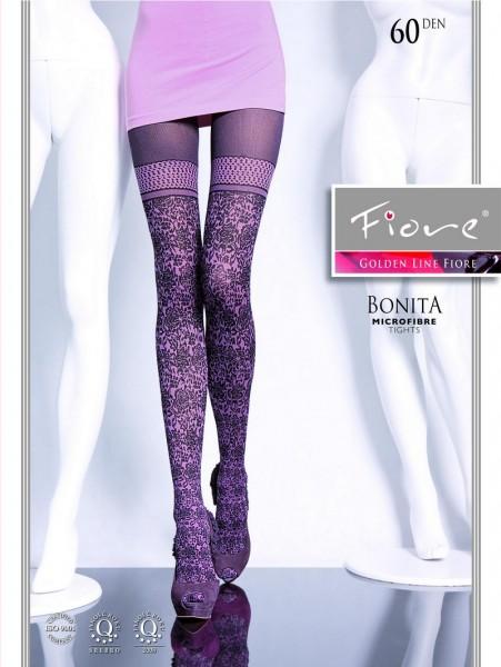 Fiore Bonita Trendige Strumpfhose mit Blumenmuster und Overknee-Look  60 DEN