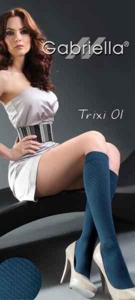 Gabriella Microfaser-Kniestruempfe mit Muster Trixi, 60 DEN