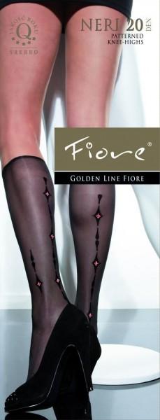 Fiore Feinkniestruempfe mit einem Muster Neri 20 DEN