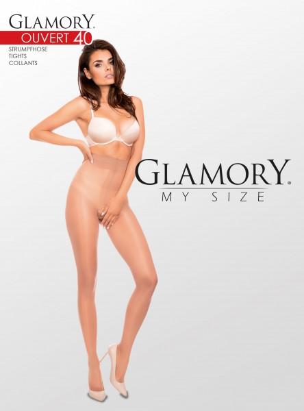 Glamory Ouvert 40 - Glänzende, semi-blickdichte Feinstrumpfhose offen im Schritt