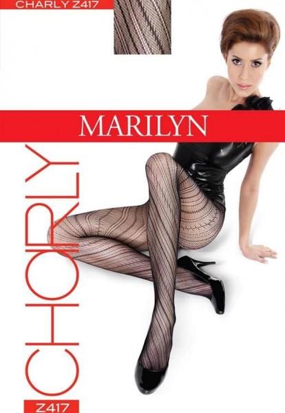 Marilyn Modische Netzstrumpfhosen mit Streifenmuster Charly, 20 DEN