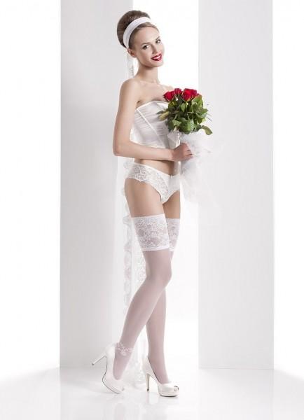 Wedding Collection - Brautstrümpfe mit wunderschönem Zierband und Blumenmuster Aurora 02