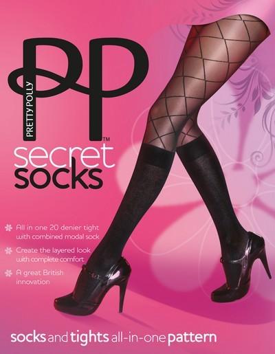 Pretty Polly Kniestruempfe und Strumpfhose in Einem Secret Socks mit Muster in Netzoptik