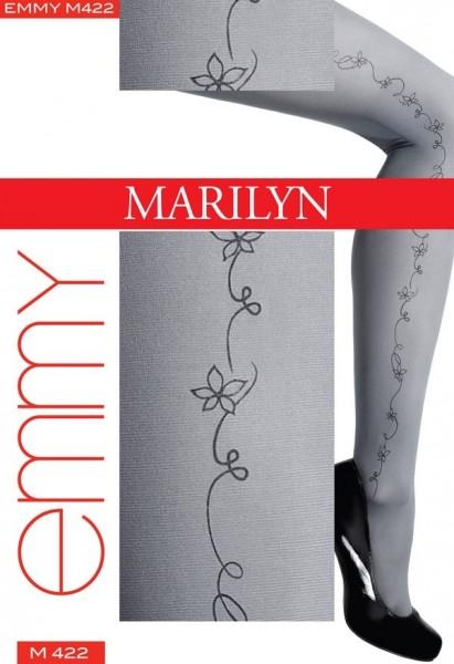 Marilyn Microfaser-Strumpfhose mit wunderschoenem Blumenmuster Emmy, 40 DEN
