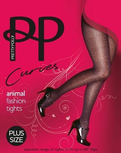 Pretty Polly Strumpfhose mit Wildtier-Musterung fuer Frauen mit weiblichen Rundungen Curves Animal Fashion