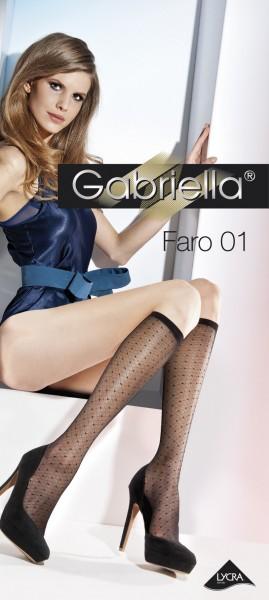 Gabriella Elegante, dezent gemusterte Kniestruempfe Faro 01