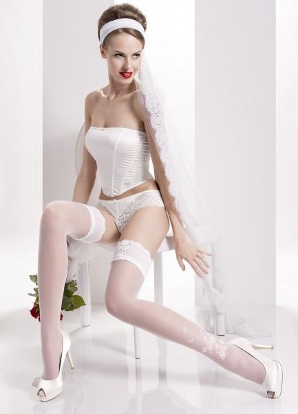 Wedding Collection - Brautstrümpfe mit wunderschönem Zierband und Blumenmuster Aurora 03