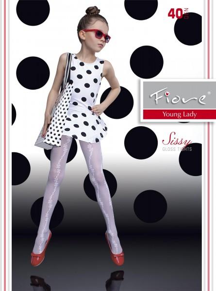 Mädchenstrumpfhose mit blumigem Muster und elegantem Satinglanz Sissy von Fiore