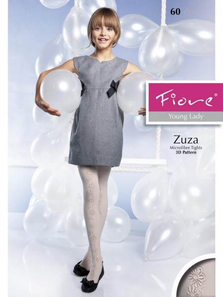 Fiore Wunderschoene Kinderstrumpfhosen mit blumigem 3D-Muster Zuza 60 DEN