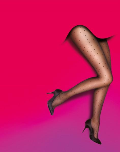Feinstrumpfhose mit Punktmuster für Frauen mit weiblichen Rundungen Curves Pinspot von Pretty Polly