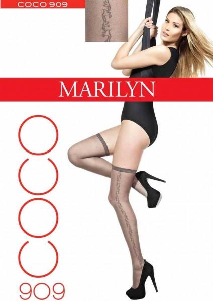 Marilyn Coco Halterlose Struempfe mit dezentem Muster, 20 DEN