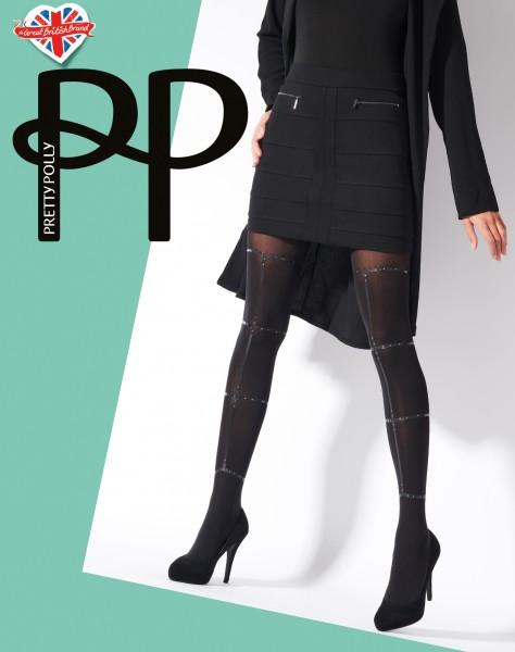 Blickdichte Strumpfhose mit raffiniertem Muster in Bondageoptik Strappy Print von Pretty Polly