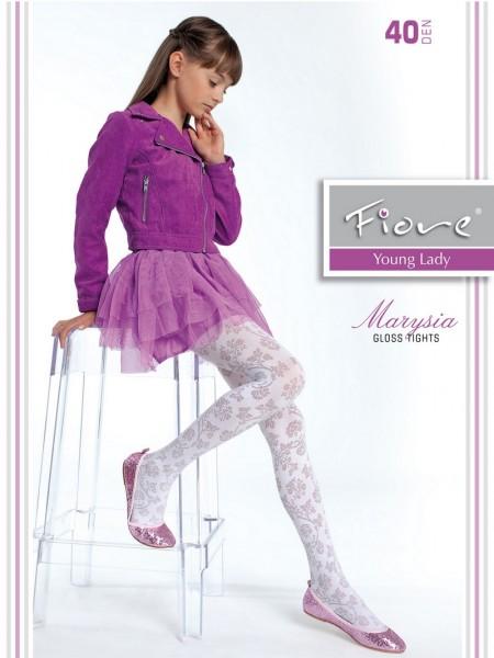 Fiore Elegante Maedchenstrumpfhose mit floralem Muster Marysia von Fiore