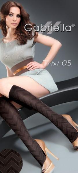 Gabriella Microfaser-Kniestruempfe mit Zick-Zack-Muster Trixi, 60 DEN