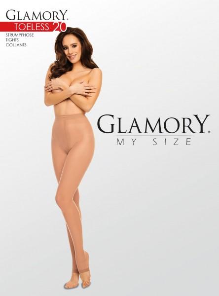 Glänzende zehenfreie Feinstrumpfhose in großen Größen Toeless 20 von Glamory