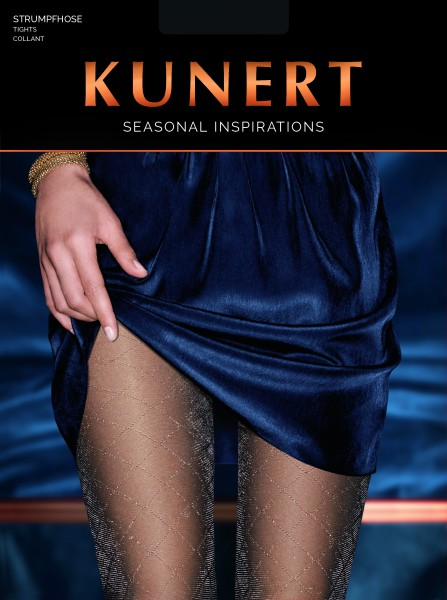 Elegante, semi-blickdichte Strumpfhose mit Lurexrauten Luxur Graphic von KUNERT