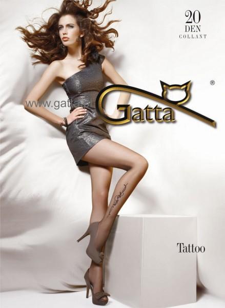 Gatta Feinstrumpfhose mit dezentem Blumenmuster Tattoo, 20 DEN