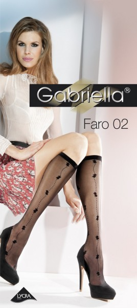 Gabriella Elegante, dezent gemusterte Kniestruempfe Faro 02