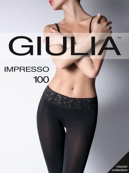 Glatte, blickdichte Feinstrumpfhose mit Spitzenbund Impresso 100 von GIULIA