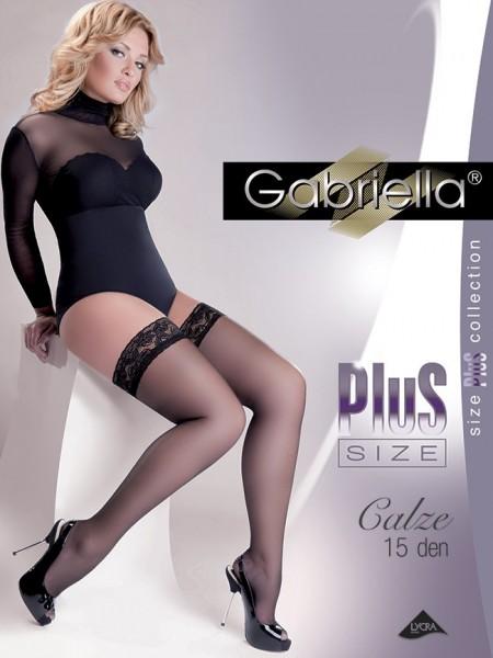 8ab789a841 Gabriella Glatte halterlose Strümpfe in Übergrößen Calze Plus Size 15 DEN