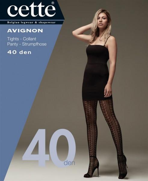 Gemusterte Ajour-Strumpfhose in Übergrößen mit hohem Anteil an Baumwolle Avignon von Cette