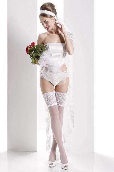Wedding Collection - Glatte Brautstrümpfe mit wunderschönem, extra breitem Zierband Aurora 01
