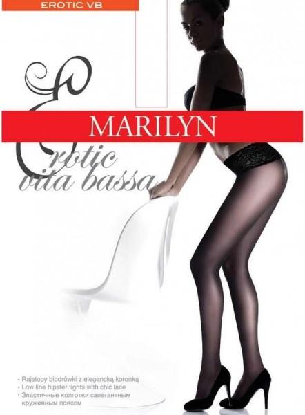 Marilyn Glatte Hueftstrumpfhose mit Spitzenbund Vita Bassa 30 DEN